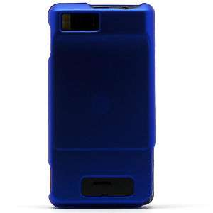 Blue Rubberized Hard Shell Case Cover Motorola Droid X