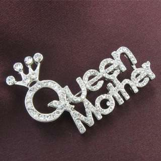 Queen Tiara Crown Mothers Day Jewelry Brooch Pin Clear Crystal Stone