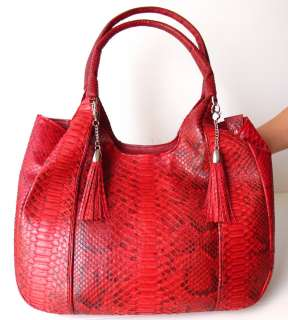 100% GENUINE PYTHON SNAKE LEATHER HANDBAG BAG HOBO LARGE SHINY RED NEW