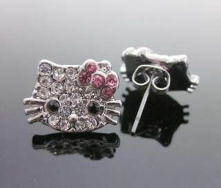 Hello Kitty pink bow crystal earring earbob E13