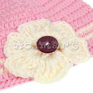 toddler baby girl cute flower kufi knit beanie hat cap
