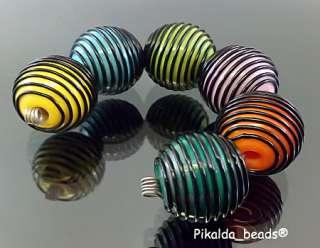 PIKALDAhandmade lampwork 6 beadsCOLORFUL LANTERNSRA
