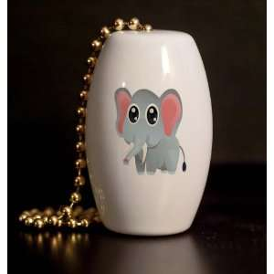 Safari Elephant Peeper Porcelain Fan / Light Pull