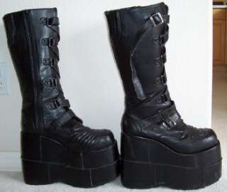 MENS BLACK GOTH PUNK ROCK BAND HERMAN MUNSTER BOOTS 13