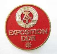 VINTAGE FLAG EAST GERMAN DDR EXPOSITION PIN BADGE