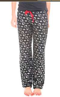 HELLO KITTY~ BLACK SILVER METALLIC LOUNGE PJ PANTS
