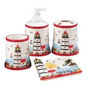 Light House 3 D Ceramic 4pc Bathroom Bath Accessories Set