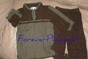 Nasoa Collection Ecological Cotton Toddler Boys Pants Set Sz 4 Brown