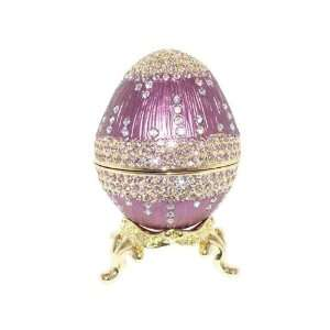 Faberge Style Russian Royal Purple Enamel Egg Trinket Box