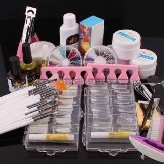 Pro Nail Art UV Gel set nail tips cutterTopcoat buffer brush acrylic