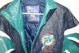 Miami Dolphins Pro Player Official NFL Football Leather Jacket Large L