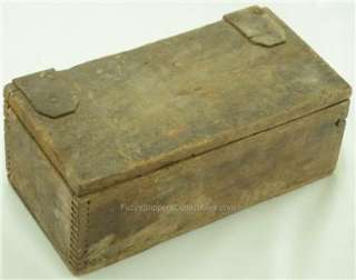 Antique Primitive WOODEN TOOL Wood BOX Leather Hinge