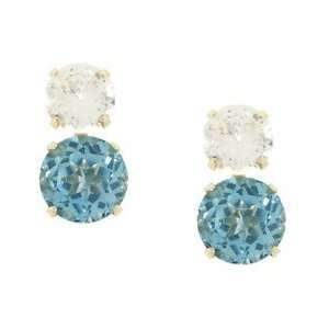 Blue and White Topaz Gold Earrings
