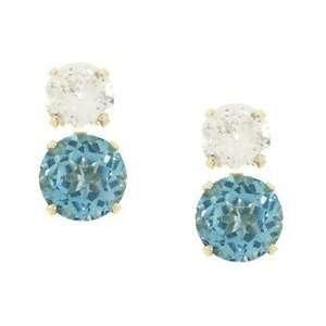 Blue and White Topaz Gold Earrings