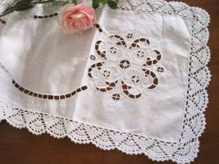 Elegant Hand Embroidery Cutwork Crochet Table Runner L