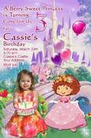 PERSONALIZED STRAWBERRY SHORTCAKE GIRLS BIRTHDAY PARTY INVITATIONS