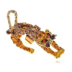 Fierce Prowling Crouching Topaz Crystal Rhinestone Red Eye