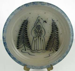 Eldreth Pottery Blue Salt Glaze Christmas Plate 1989