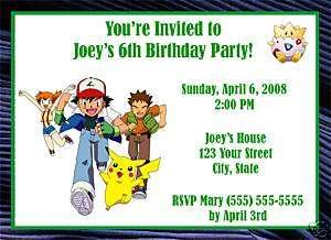 Personalized Pokemon Birthday Party Invitations