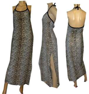Sexy Leopard Print Halter Dress w/ 24 Side Slit SMALL