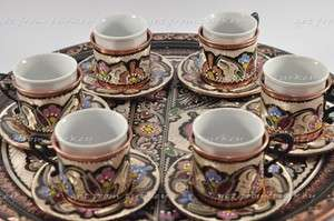 Turkish Coffee & Espresso Set Hand Crafted Copper Tray   Cup   Pot