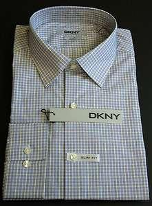 DKNY Mens Plaids Dress Shirt Multi Blue Color Sizes L, XL & XXL