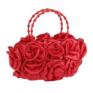 Fabulous Red Satin Rose Evening Bag With Bead Handle