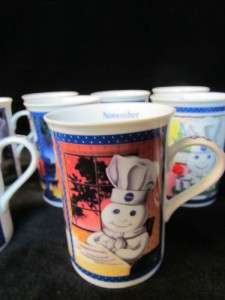 Pillsbury Doughboy 12 Month Collector Mug Set by Danbury Mint, set of