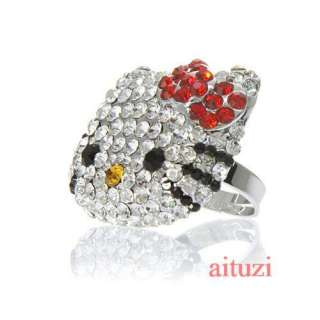 Large hello kitty crystal bling bow red ring xmas #R6