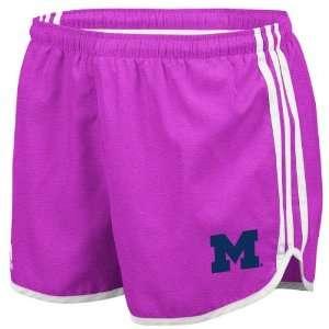 Michigan Wolverines adidas Heathered Pink Womens 3 Stripe