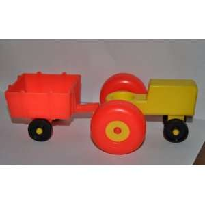 Vintage Little People Yellow Farm Tractor with Red Wheels
