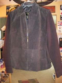 FABIO BROWN SUEDE LEATHER JACKET, KNIT SLEEVES, SZ MED