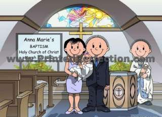 BAPTISM   COUPLE   Custom Cartoon Gift, Many Options for