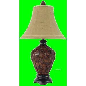PINECONE pine cone rustic wood TABLE LAMP home decor NEW