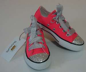 Neon Pink Convers Featuring Clear Swarovski Cystals Toddler/kids/adult