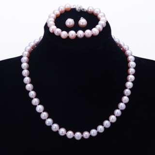 9mm Genuine Round Pearl Necklace Bracelet Earring Set