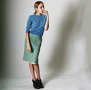 PAUL SMITH Wool Plaid A Line Skirt in Blue Green Stripe Polka Dot Slip