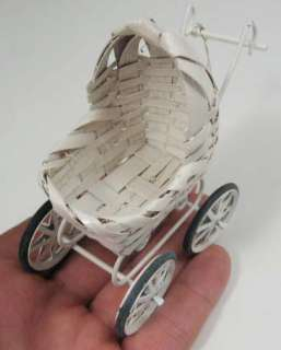 NEW White Wicker Old Fashioned Miniature Baby Stroller Buggy