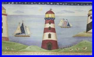 Patriotic Lighthouses Sea Boat Wall Border 5yd Blue Red