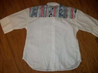CABRAIS RED WHITE BLUE STARS FLORAL PATRIOTIC 4TH JULY BLOUSE TOP 10 M