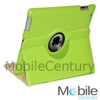 iPad 2 Case 360 Rotating PU Leather Smart Cover Swivel Stand W/ Clear
