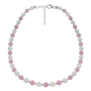 Sterling Silver Pink and White Cat Eye Necklace 16 inch