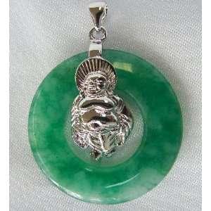 Fashion Jewelry ~ Round Jade with Silver Buddha Pendant