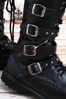 Visual Kei/Punk/SHOXX Goth 5 strap BOOT 6/6.5 BLACK 35