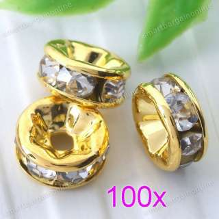 100PC Gold Plated White Crystal Round Spacer Beads Jewelry Making