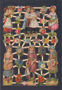 FLORAL GIRLS ART VICTORIAN PAPER VINTAGE COLLAGE GERMAN