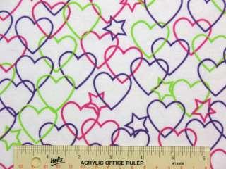 Multi Colored Hearts & Stars Cotton Flannel Fabric J3