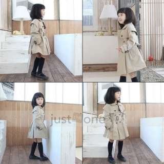 Chic Kids Baby Girls Autumn Casual Outerwear Double breasted Trench