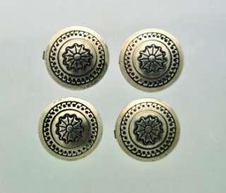 Lot (4) VTG Sterling Silver Front Button Covers Sun Motif Design