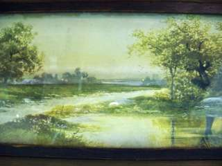 EARLY American FRAMED Landscape PICTURES Antique ART